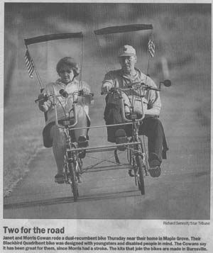 Star Tribune article Janet and Morris Cowan on their dual-recumbent Blackbird Quadribent bike.