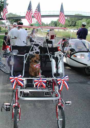 Biking Dog on Quadribent for 4th of July parade