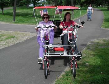 Biking Around the Lake, Grandmother and Granddaughter