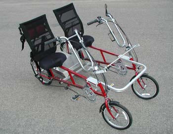 Quadribent recumbent bike for two