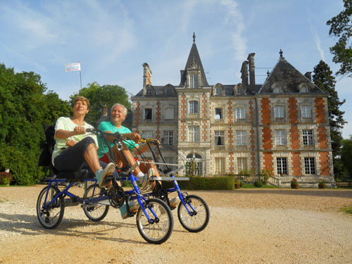 Riding near chateau along Loire River